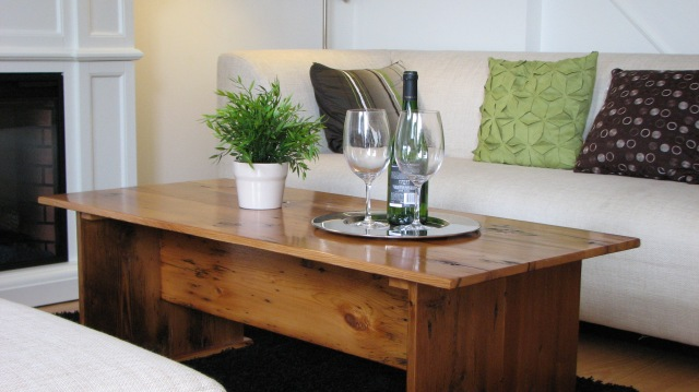 Coffee table made from 100% reclaimed barn board